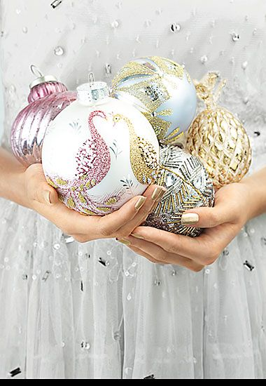 Assorted pastel baubles with glitter finish