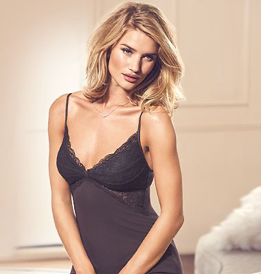 Rosie wearing a black slip