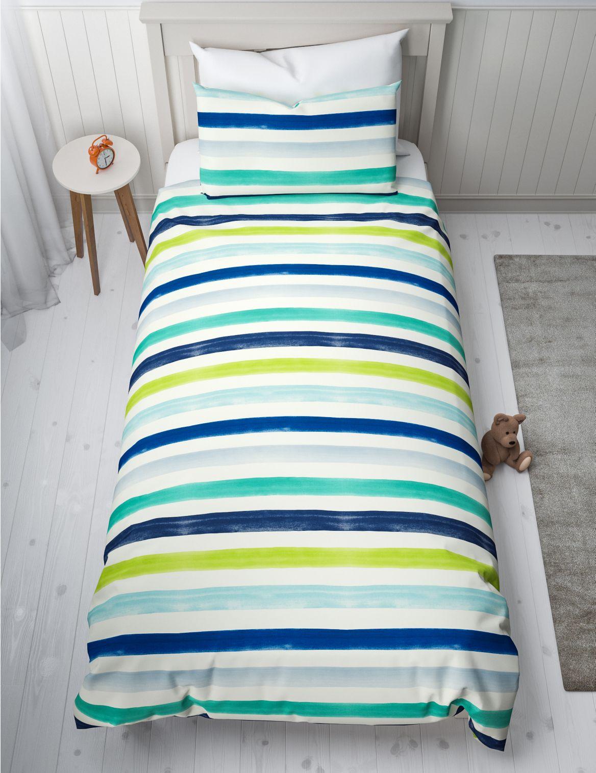 Watercolour Stripe Reversible Bedding Set pale blue mix