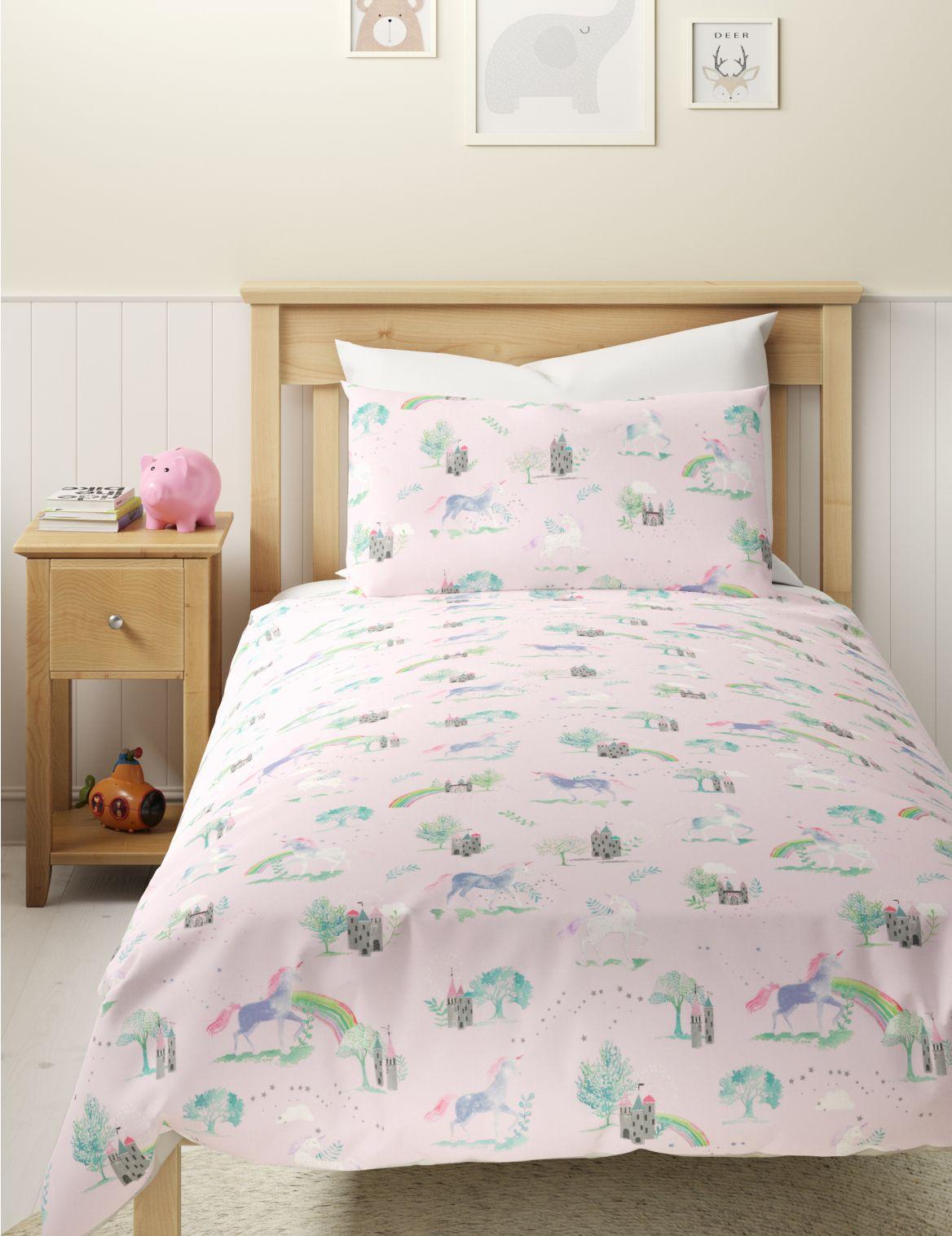 Unicorn Rainbow Reversible Bedding Set pink mix