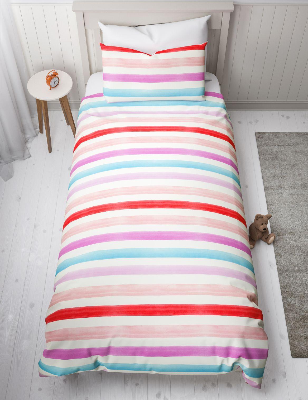 Watercolour Stripe Reversible Bedding Set pink mix