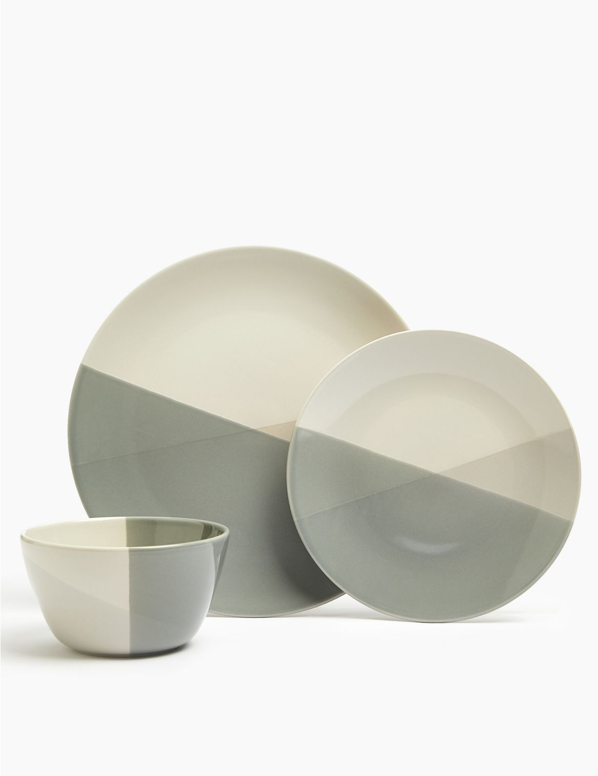 12 Piece Dipped Stoneware Crockery Set grey mix