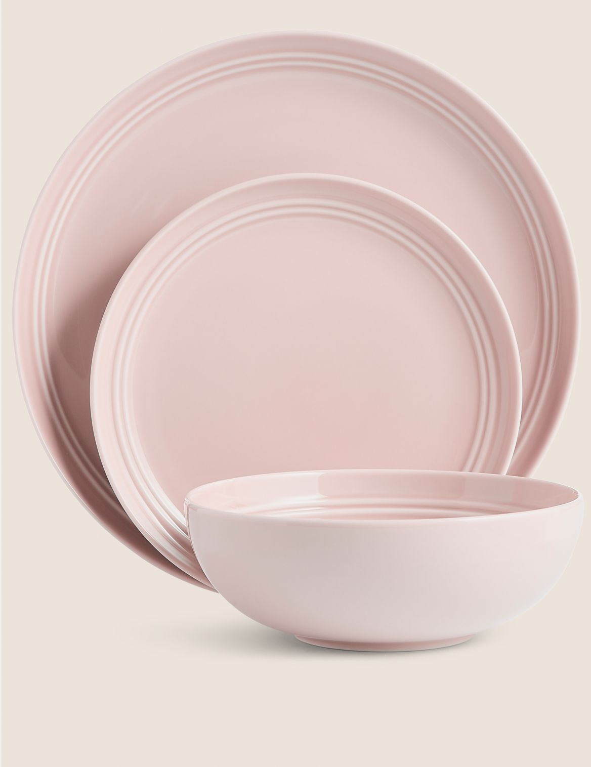 12 Piece Marlowe Dinner Set soft pink