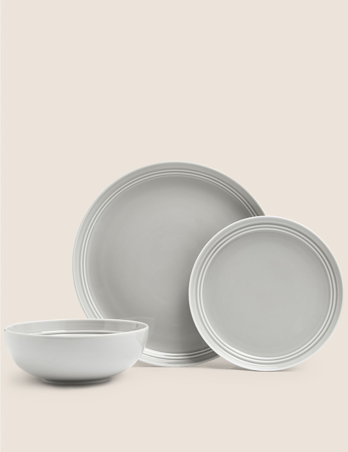 12 Piece Marlowe Dinner Set light grey