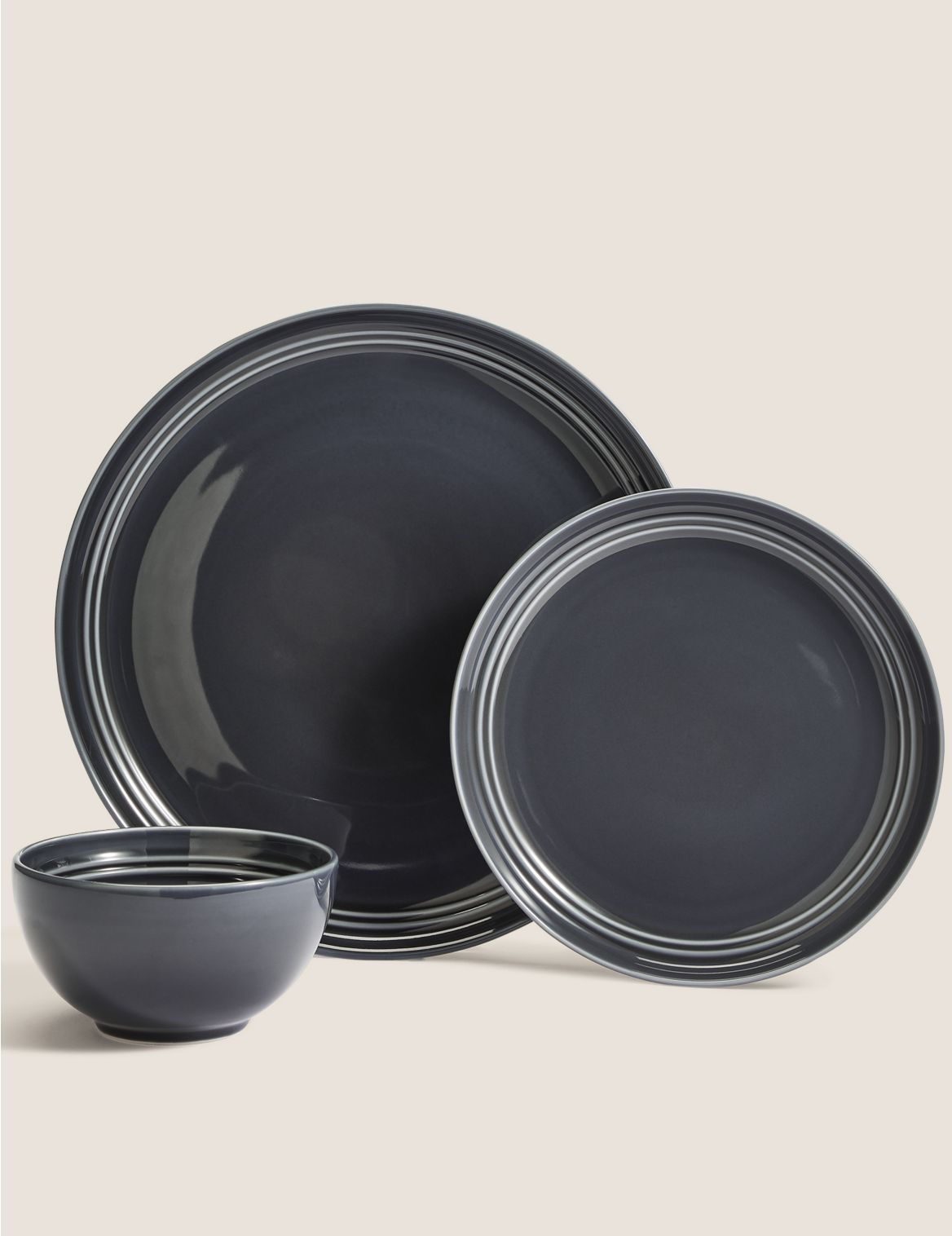 12 Piece Marlowe Dinner Set dark grey