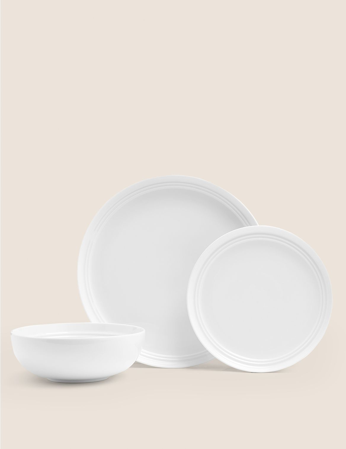 12 Piece Marlowe Dinner Set white