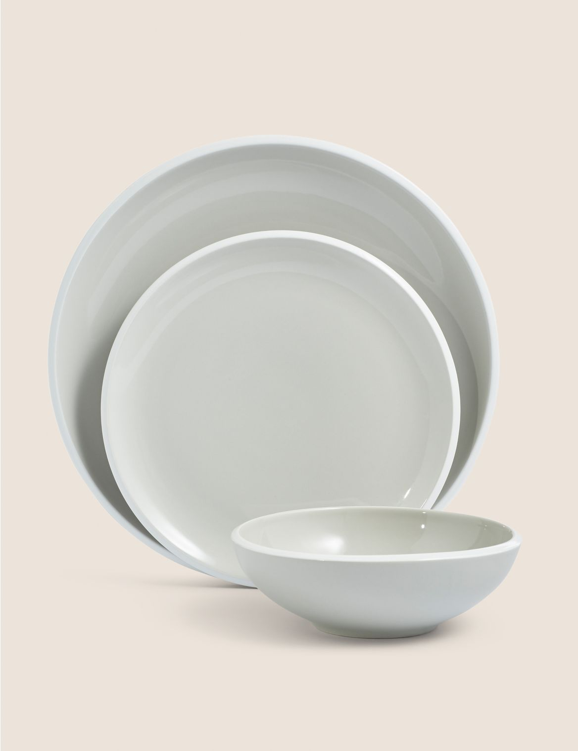 12 Piece Oslo Dinner Set grey mix