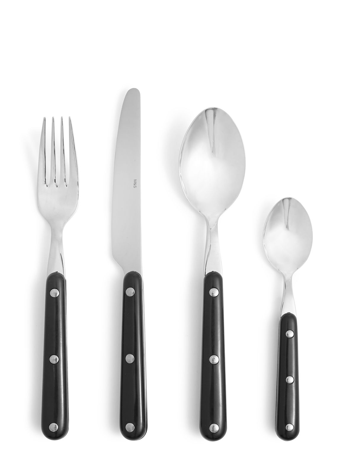 16 Piece Bistro Cutlery Set black mix
