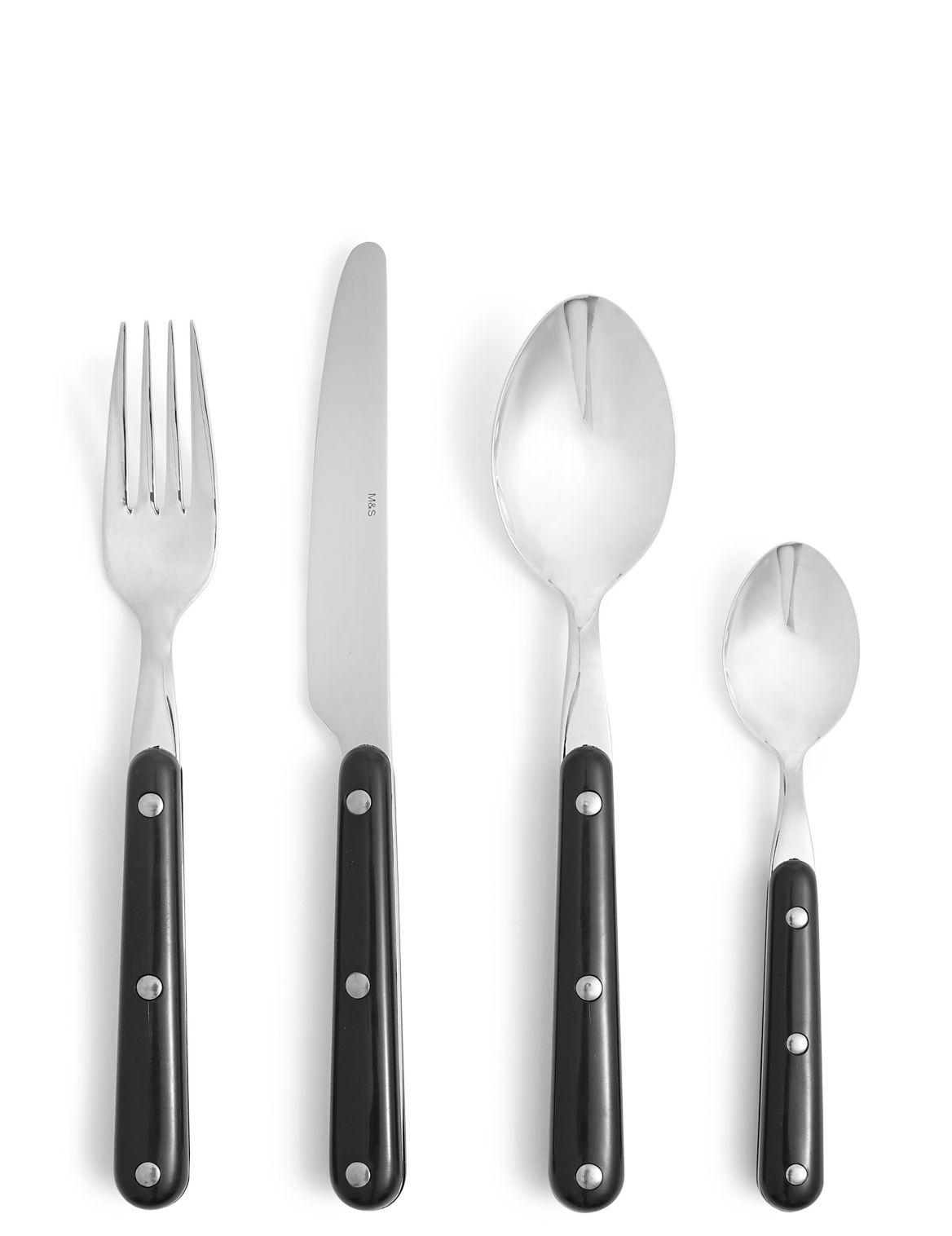 16 Piece Bistro Cutlery Set black mix