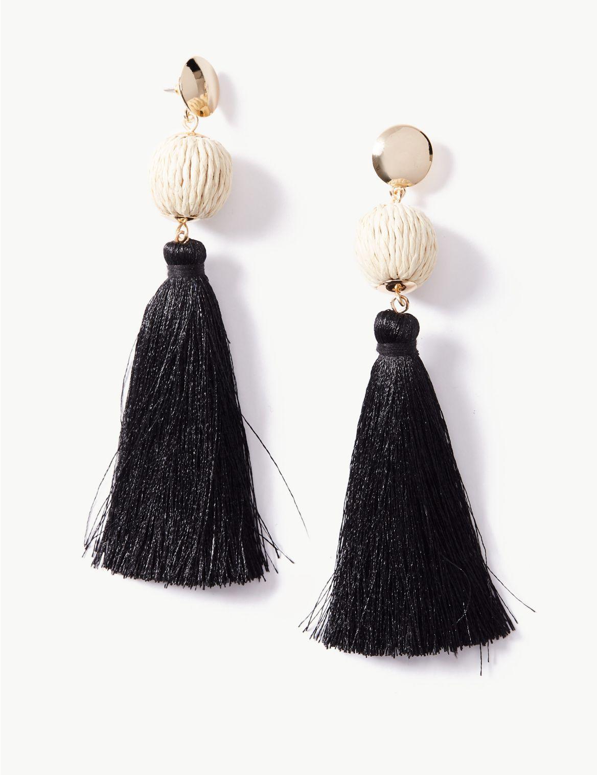 Ball Tassel Drop Earrings black mix