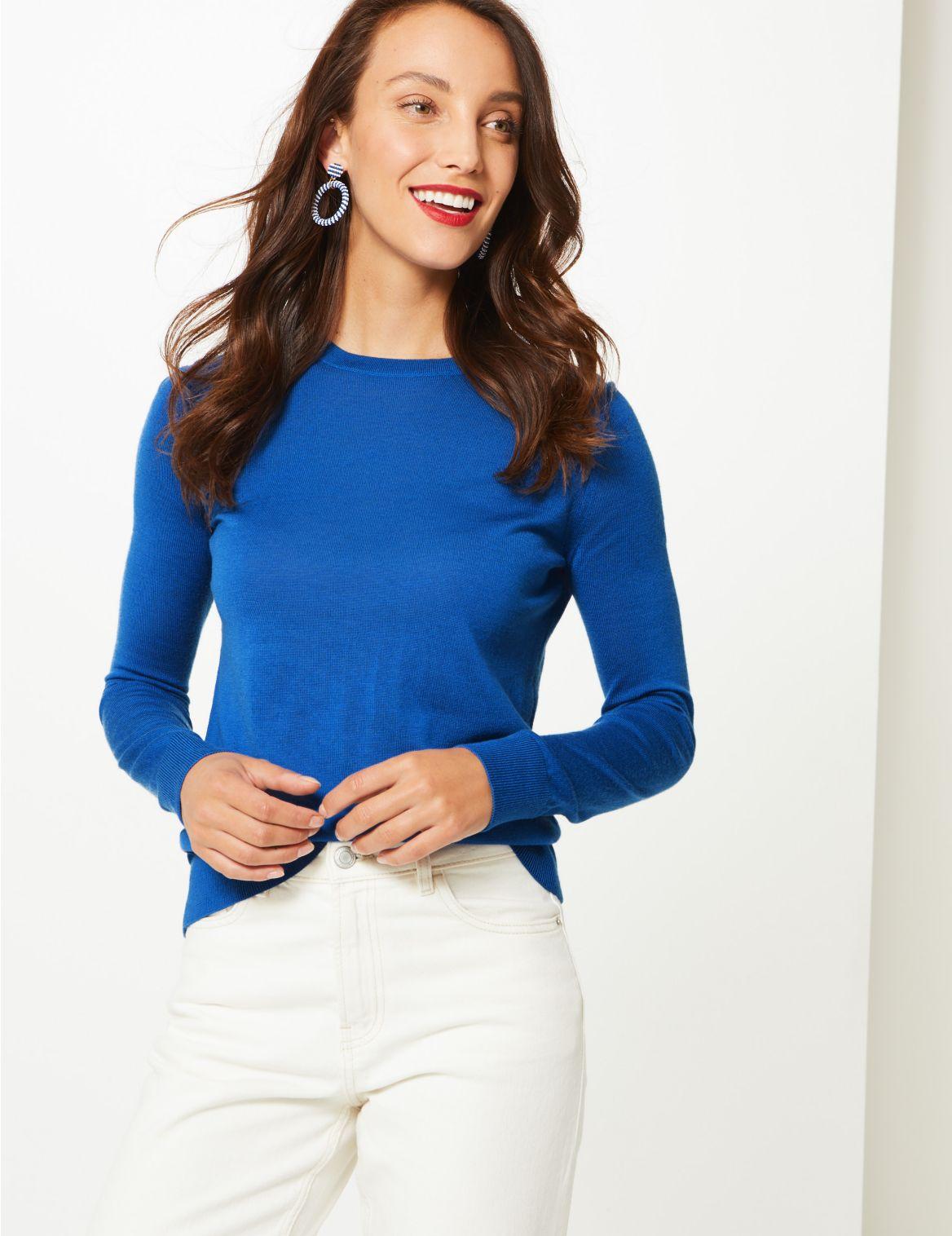 Pure Merino Wool Round Neck Jumper azure blue