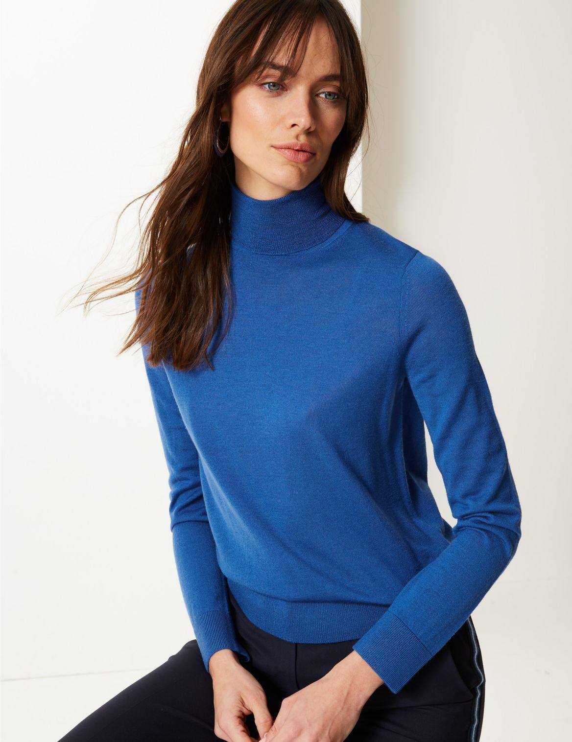 Pure Merino Wool Roll Neck Jumper azure blue