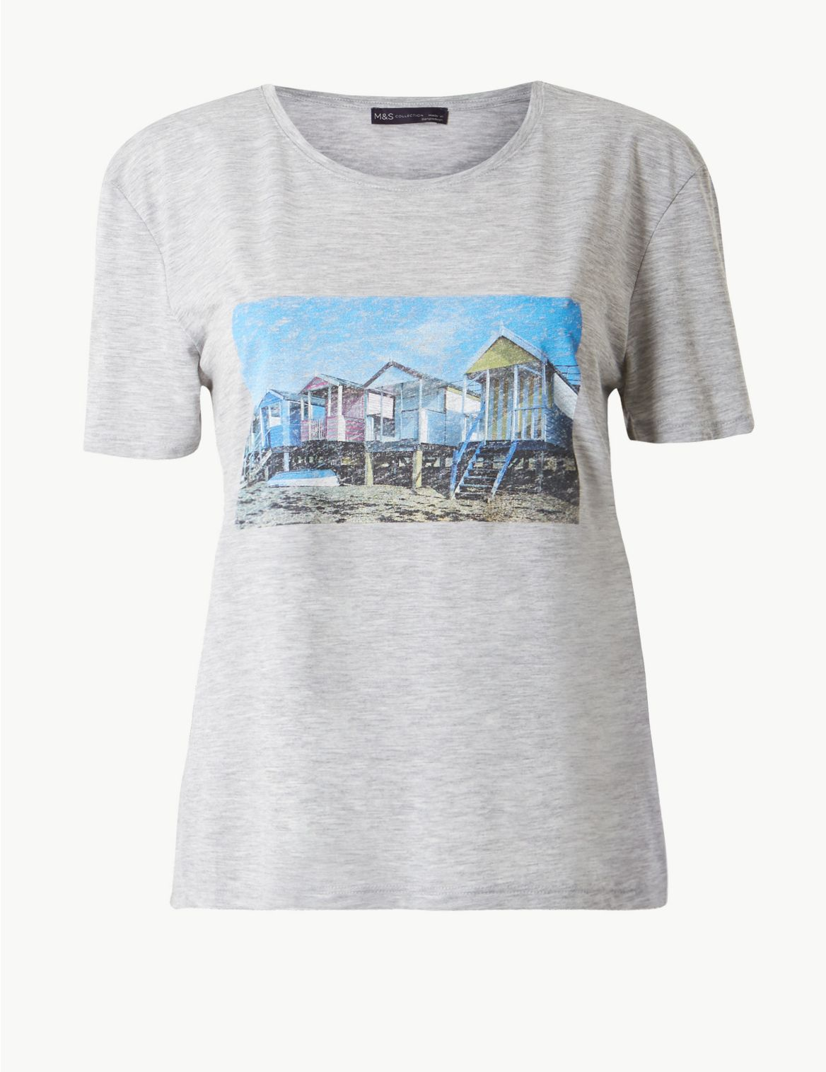 Printed Relaxed Fit Short Sleeve T-Shirt grey marl