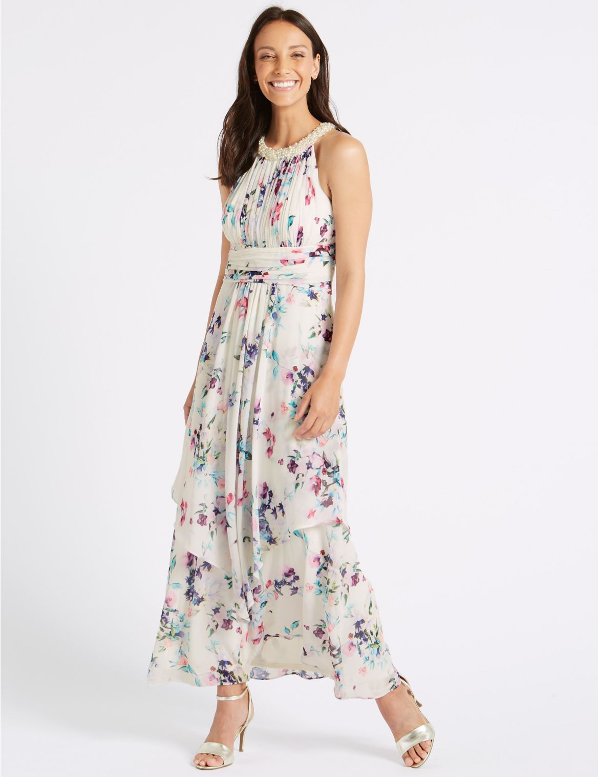 Floral Print Maxi Dress ivory mix