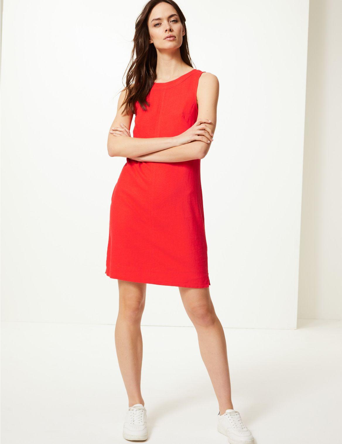Linen Rich Round Neck Shift Dress bright red