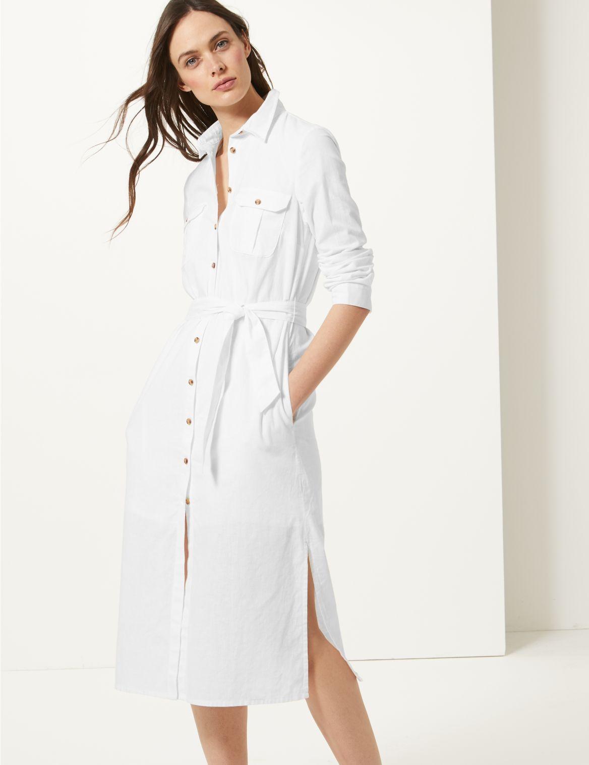 Patch Pocket Midi Shirt Dress soft white