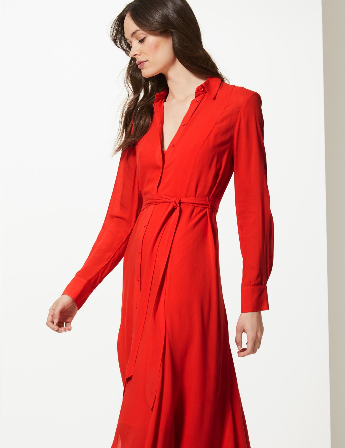 Long Sleeve Shirt Midi Dress red