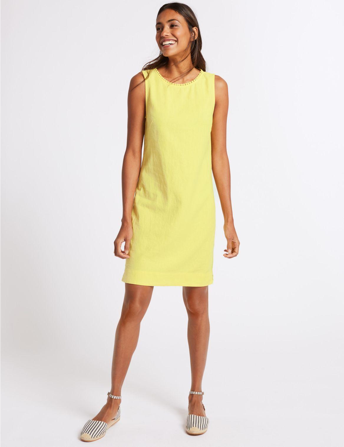 Linen Blend Tunic Dress yellow
