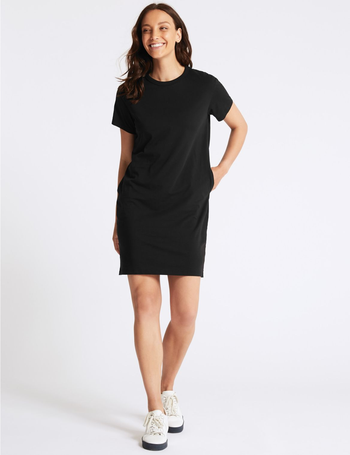 Pure Cotton Jersey T-Shirt Dress black
