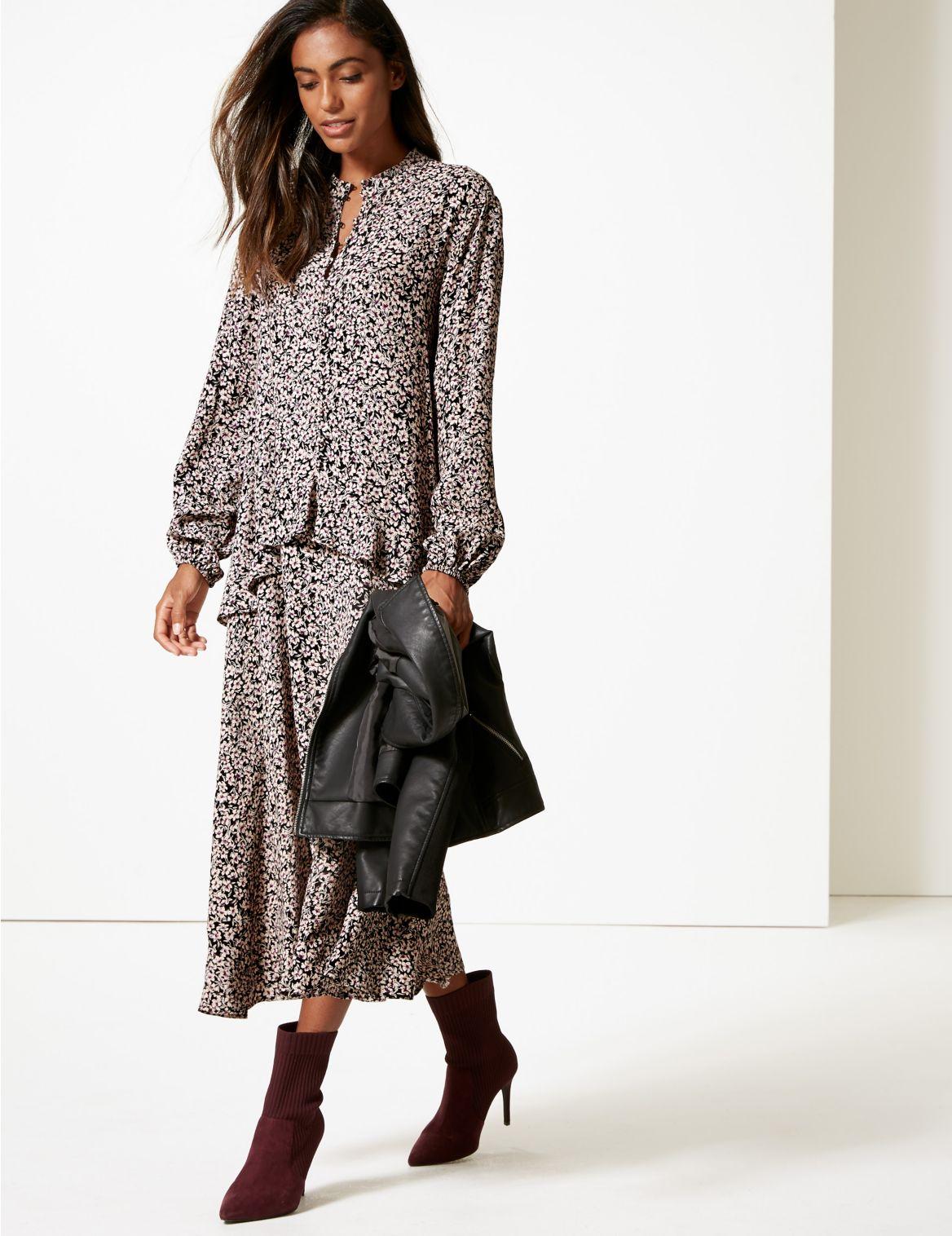 Floral Print Drop Waist Maxi Dress black mix