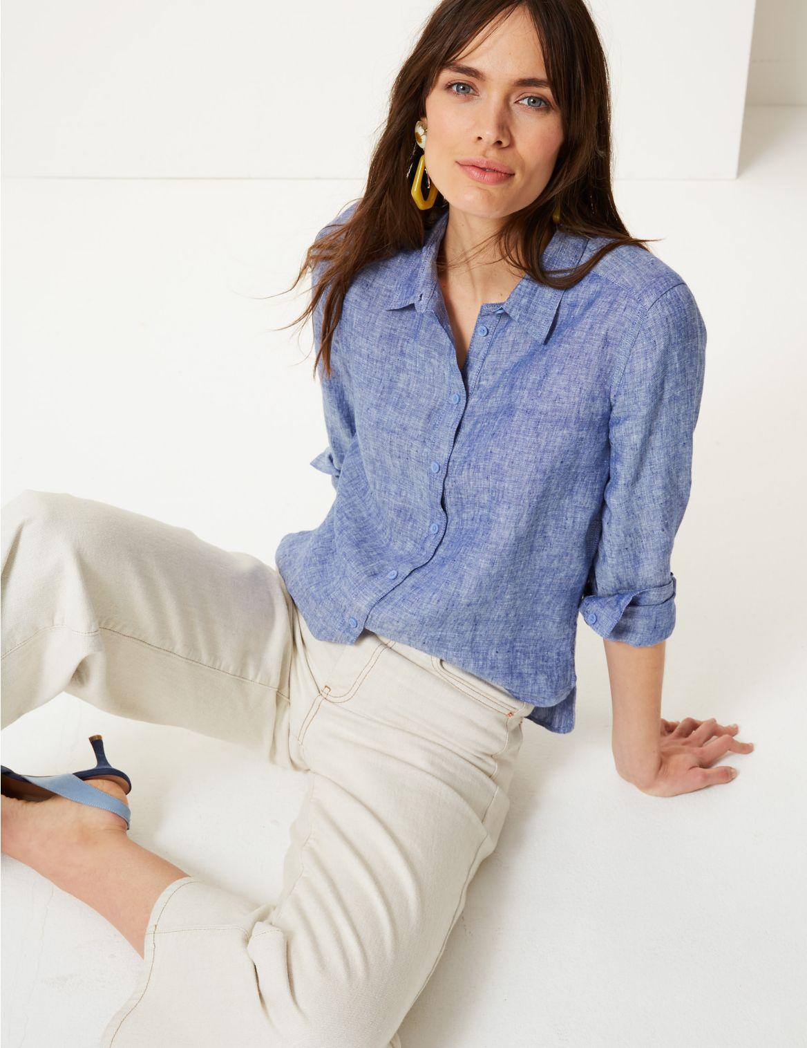 b89f91f3a4 Pure Linen Button Detailed Shirt …