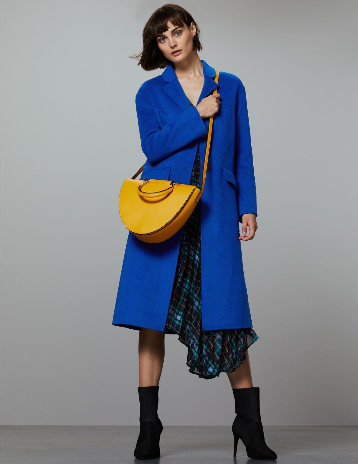 Wool Blend Single Breasted Coat cobalt