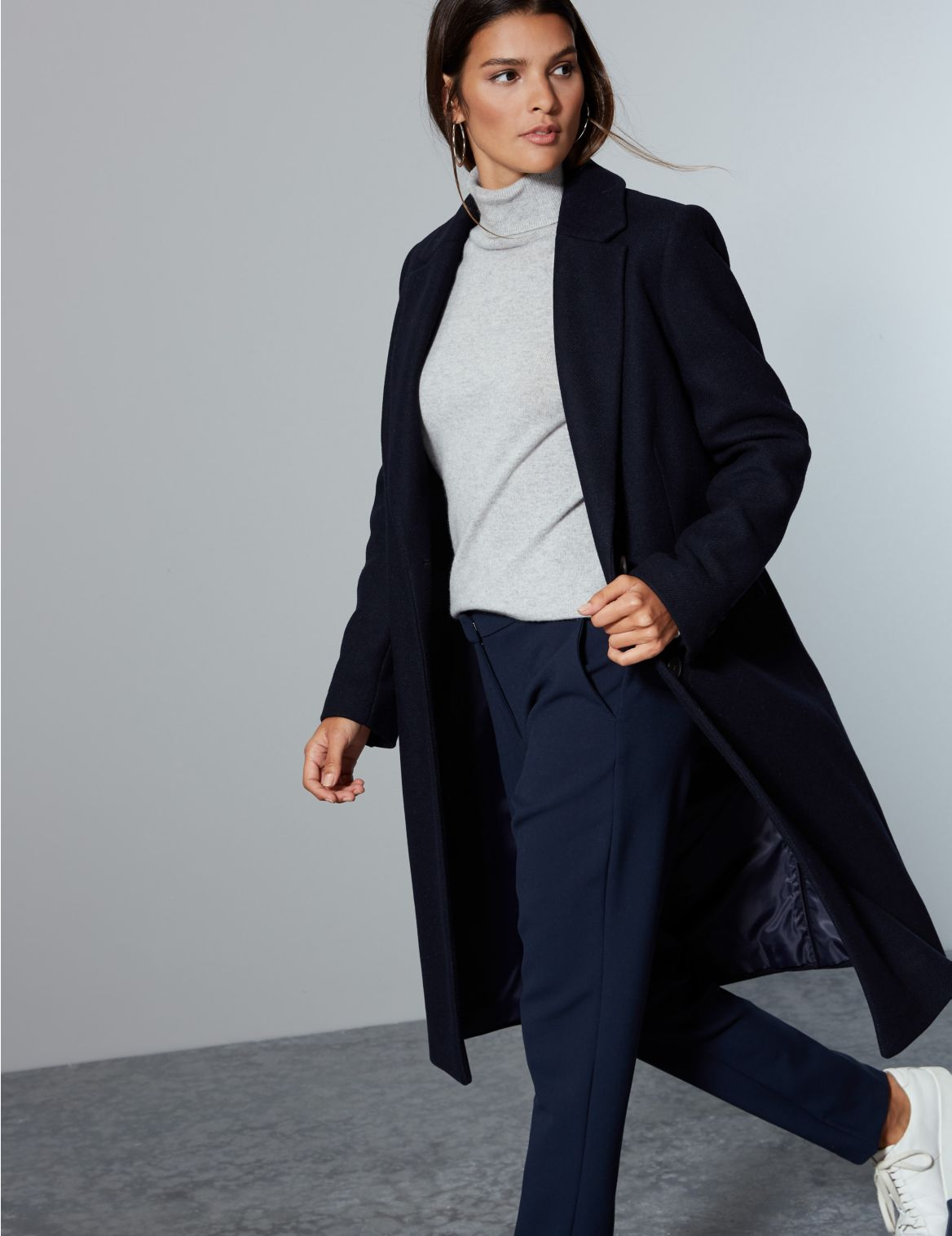 Wool Rich Single Breasted Coat with Cashmere navy