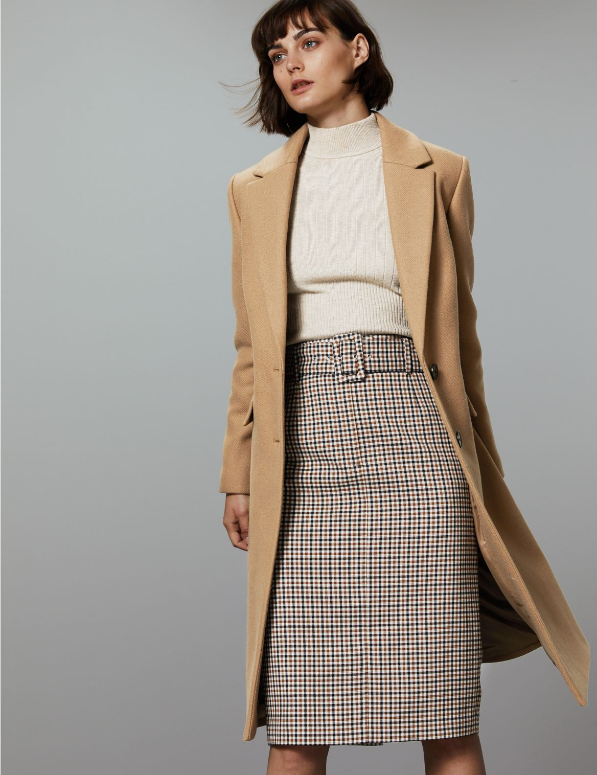 Wool Rich Single Breasted Coat with Cashmere camel