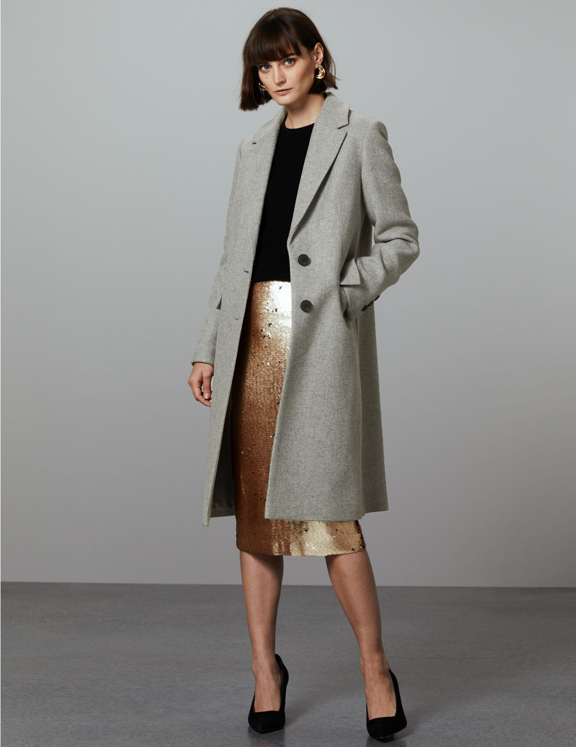 Wool Rich Single Breasted Coat with Cashmere grey