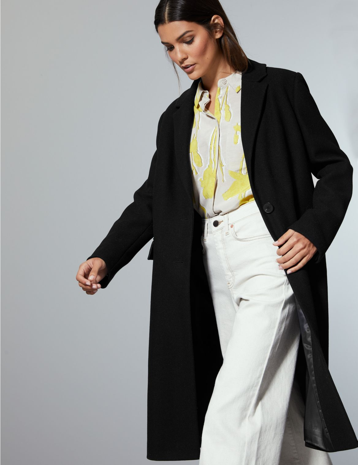 Wool Rich Single Breasted Coat with Cashmere black