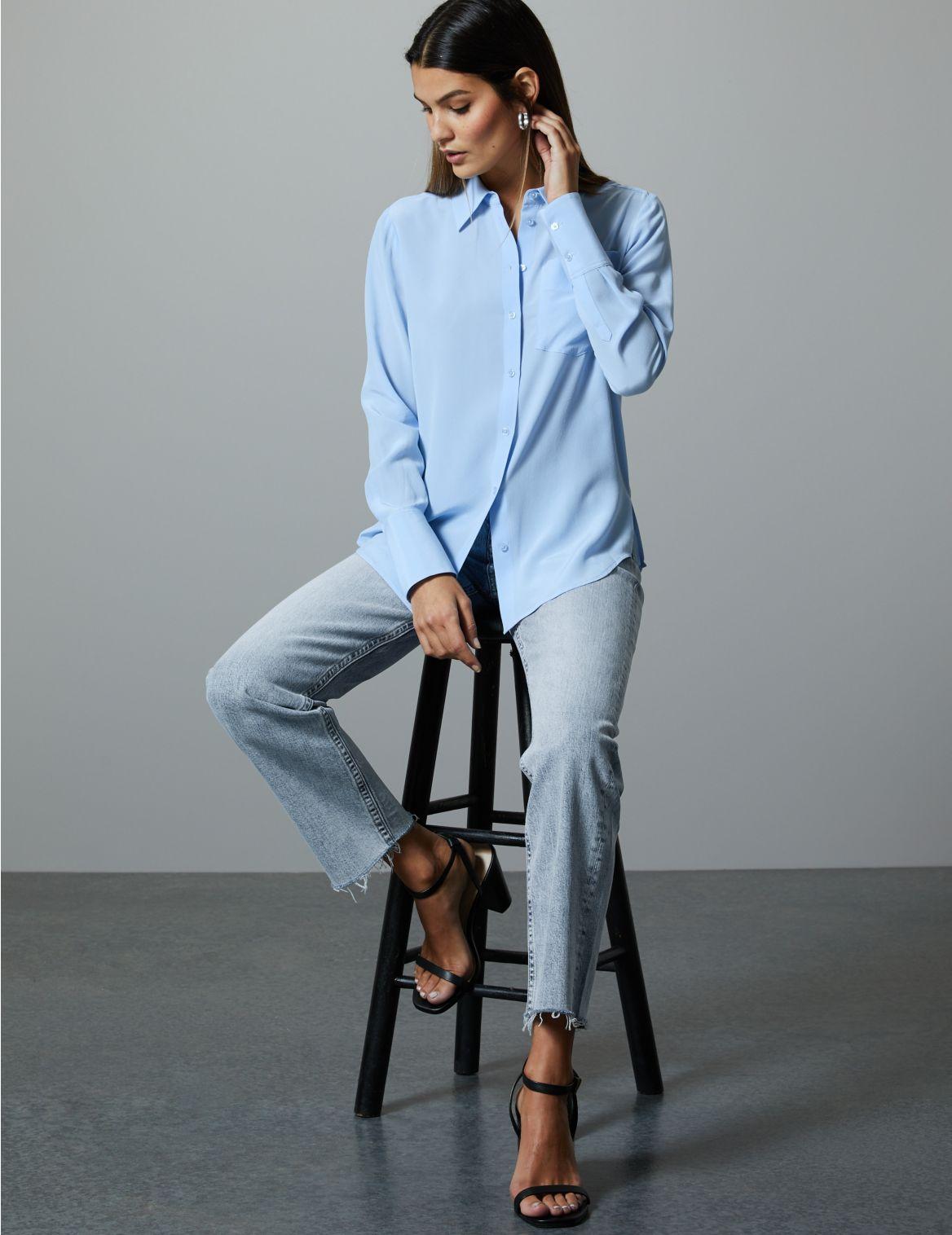 High Rise Straight Leg Ankle Grazer Jeans medium indigo
