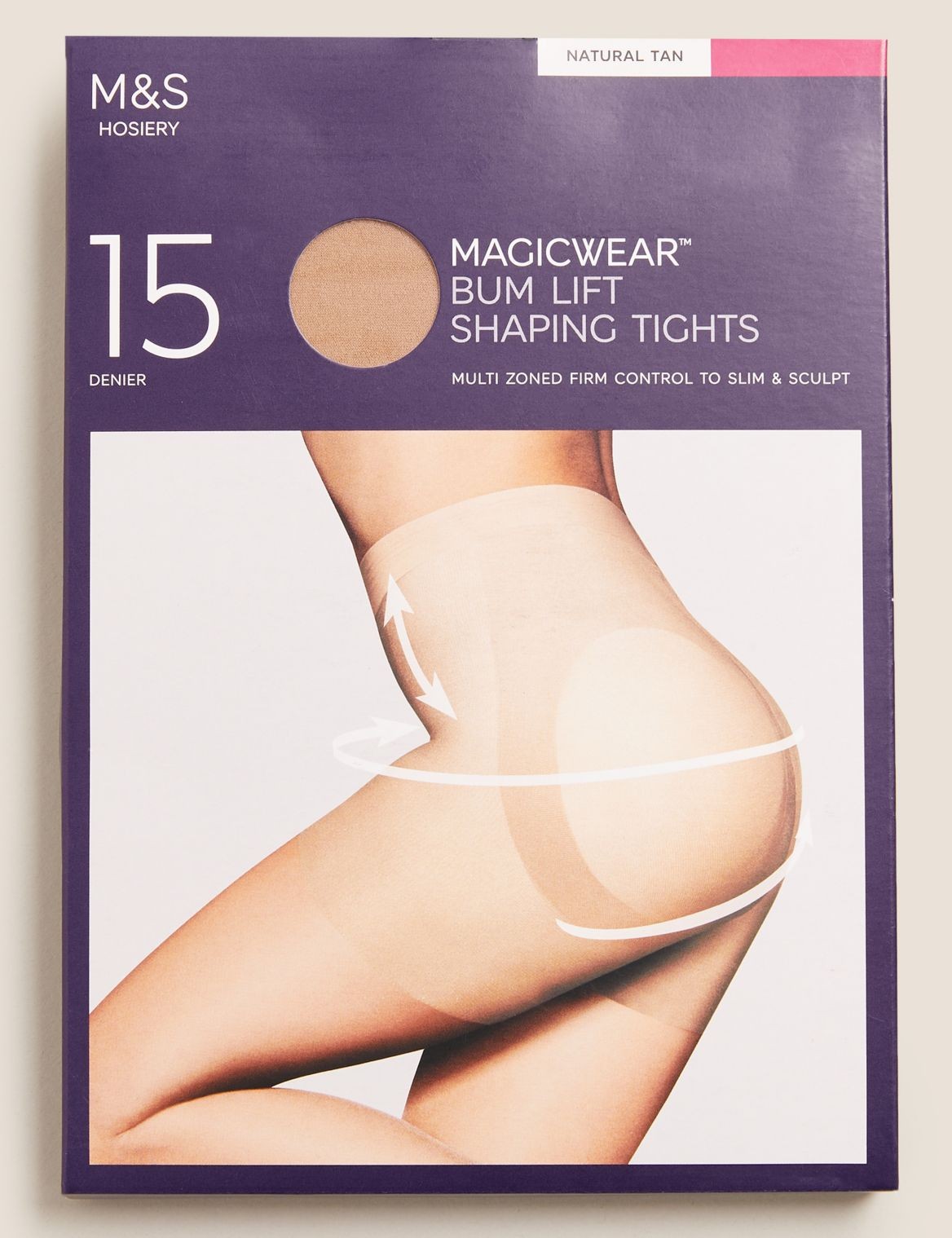 15 Denier Magicwear™ Matt Body Shaper Tights natural tan