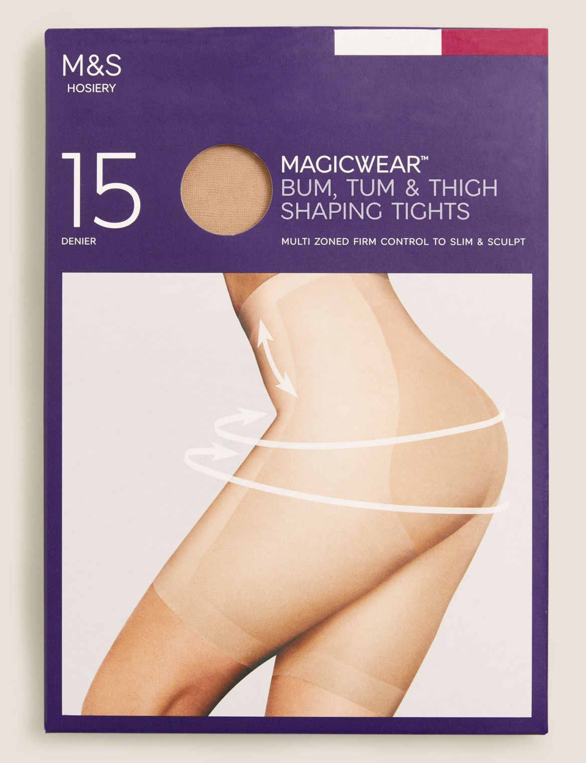 15 Denier Magicwear™ Shine Body Shaper Tights natural tan