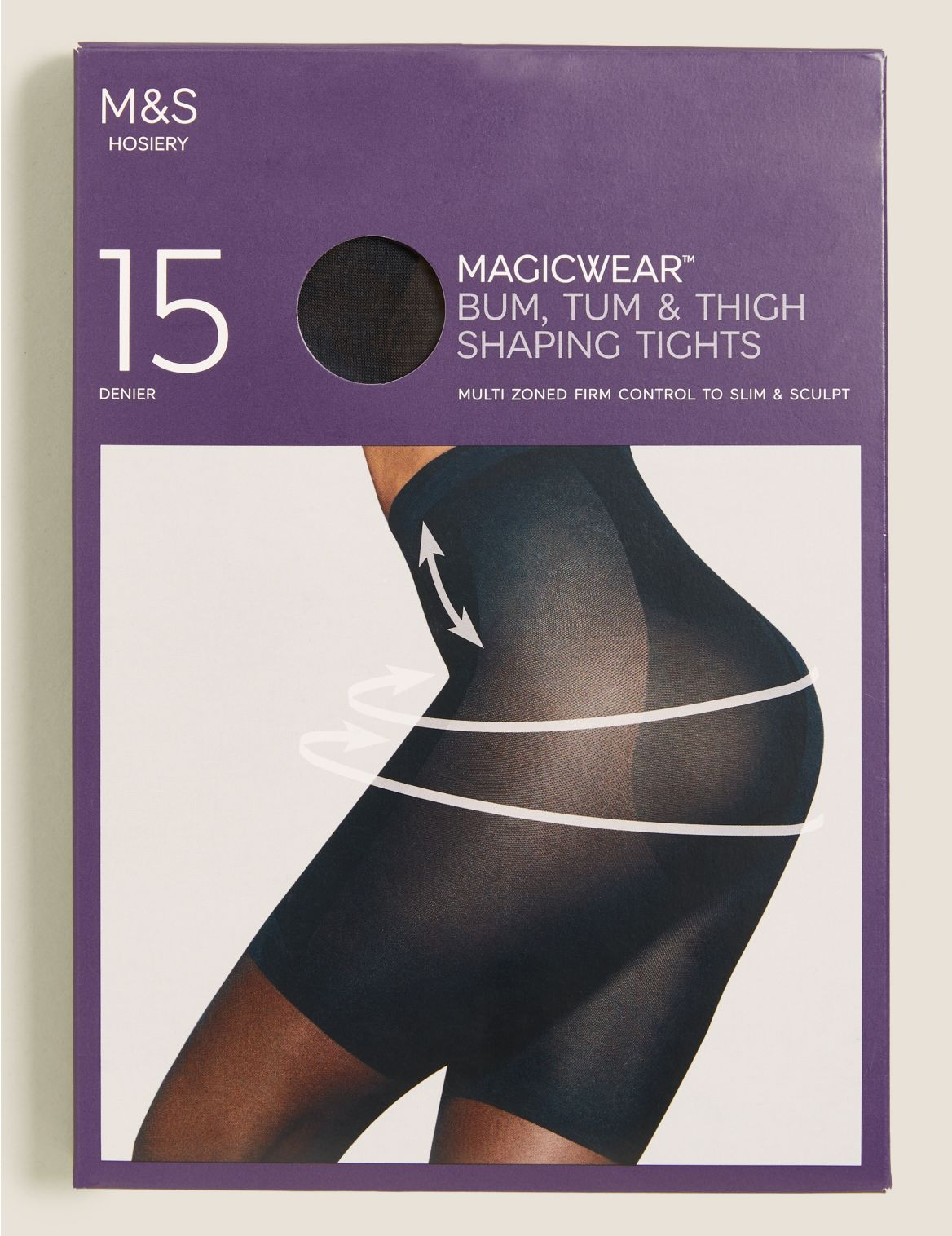 15 Denier Magicwear™ Shine Body Shaper Tights black