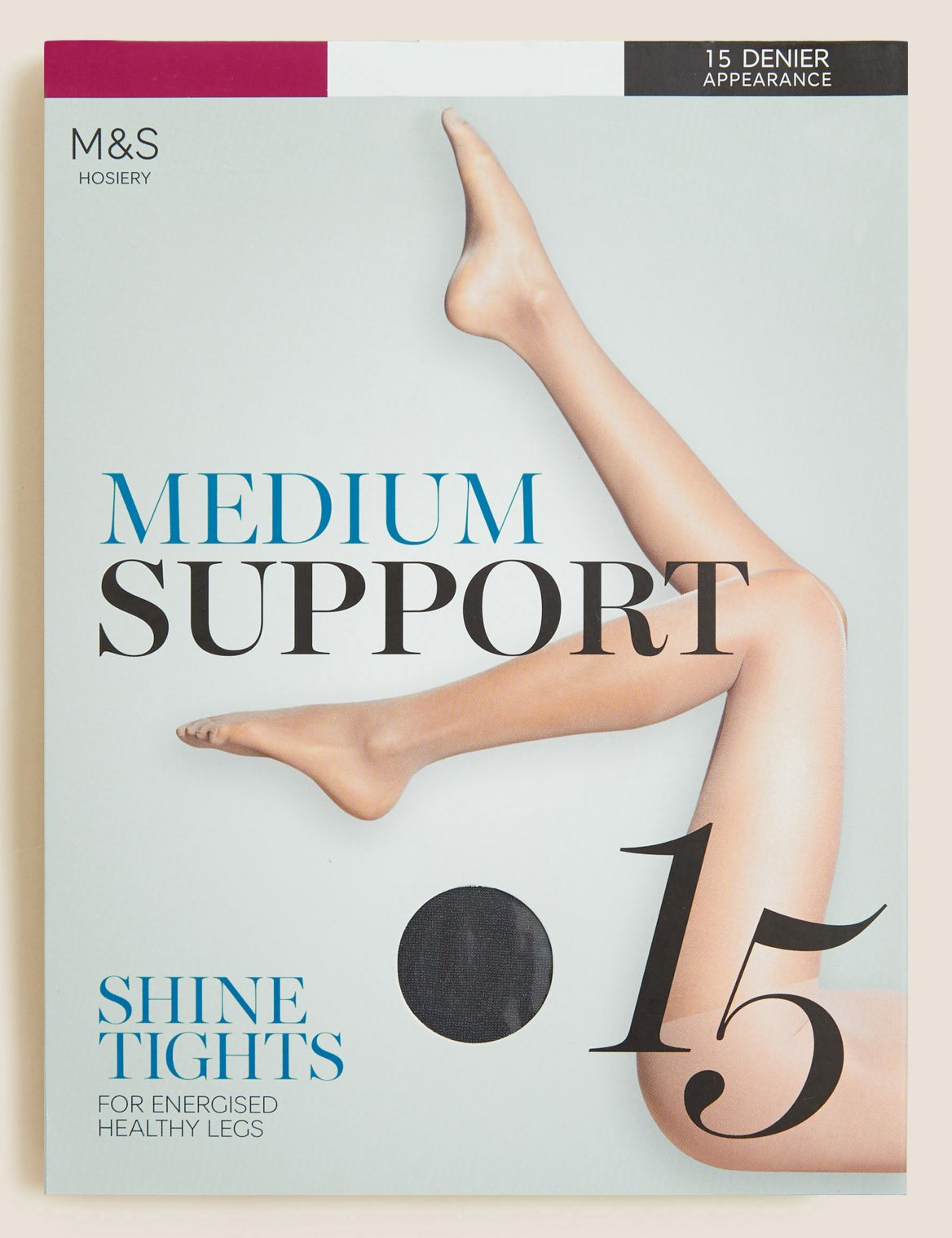 15 Denier Medium Support Sheer Tights nearly black