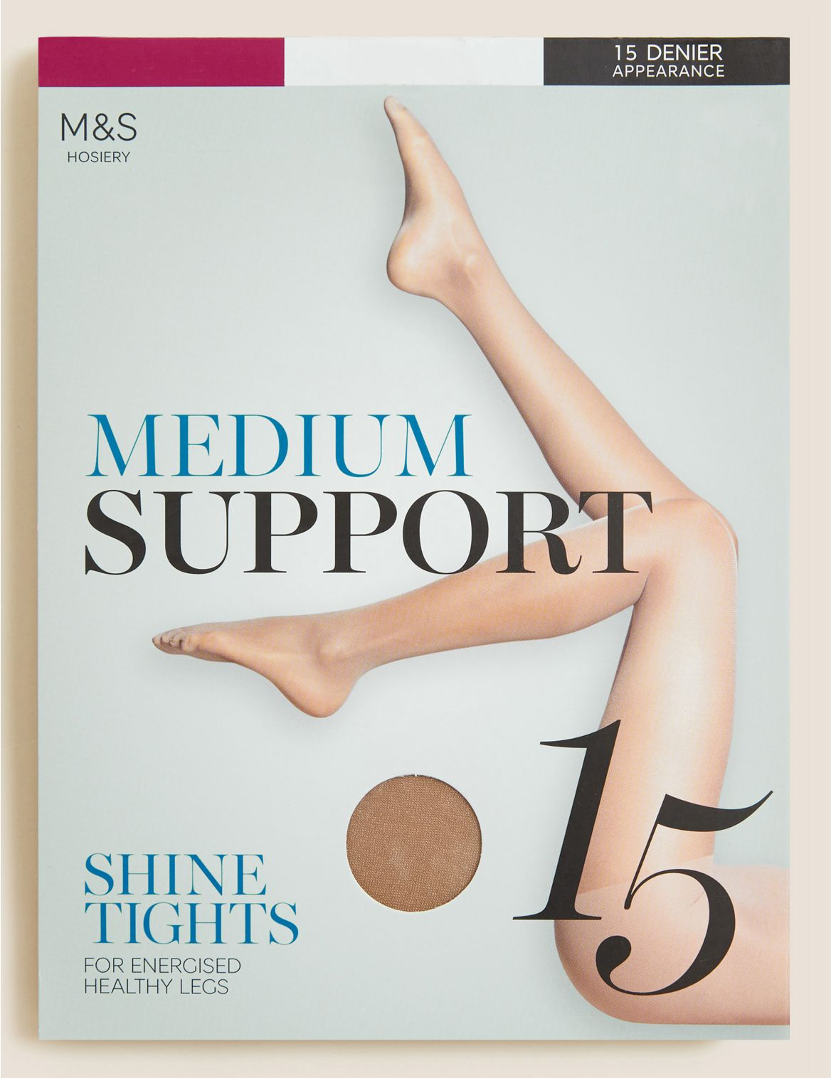 15 Denier Medium Support Sheer Tights natural tan