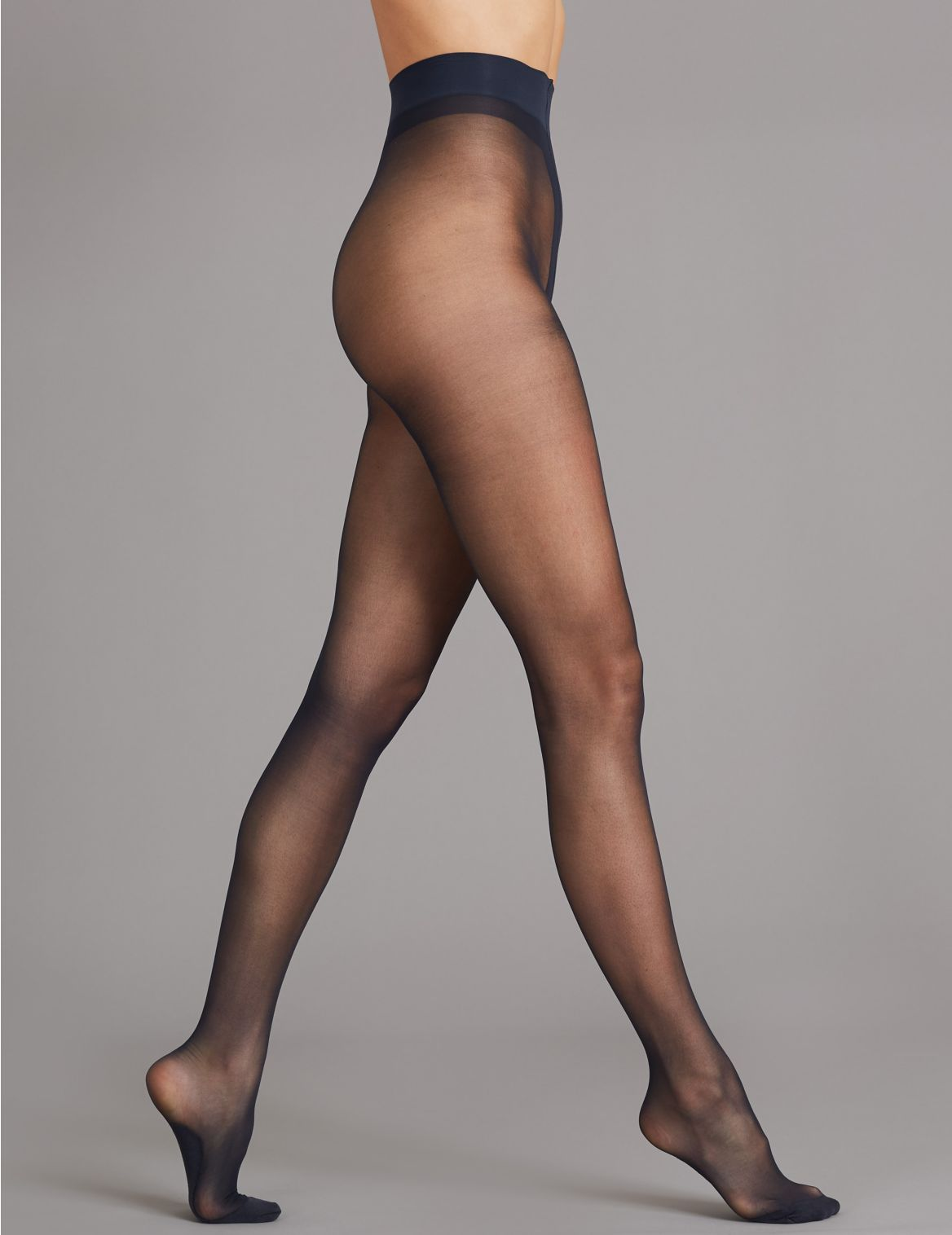 10 Denier Sheer Luxe Warm Toes Tights with Wool navy