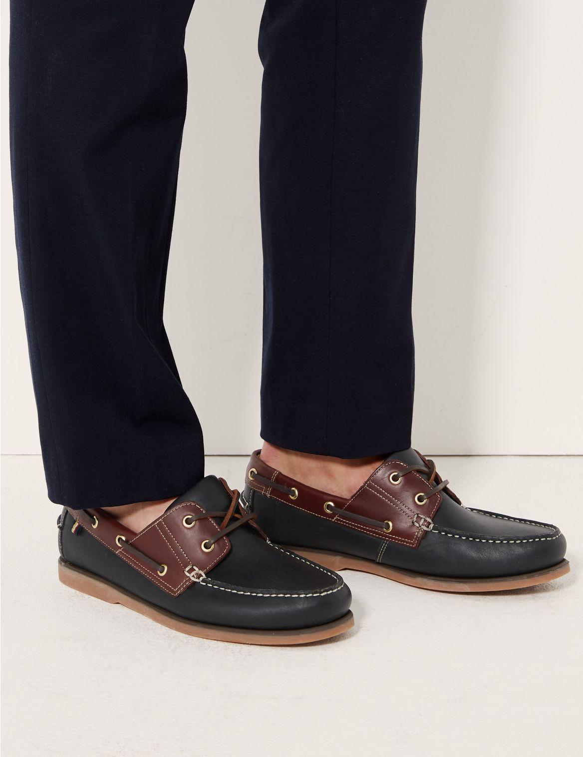 Chaussures bateau en cuir à lacets, dotées de la technologie Freshfeet™