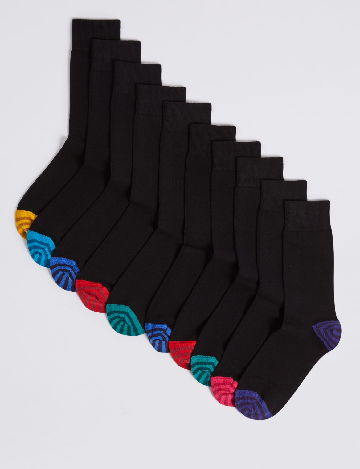 10 Pack Cool & Freshfeet™ Cotton Rich Socks black mix