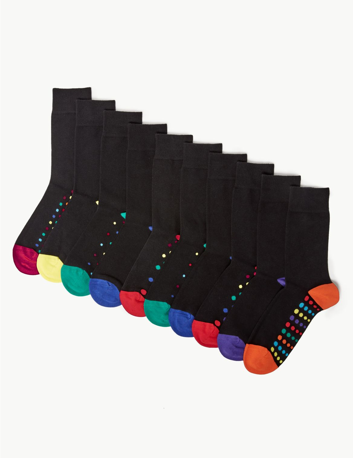 10 Pack Cotton Cool & Fresh™ Spot Print Socks brights