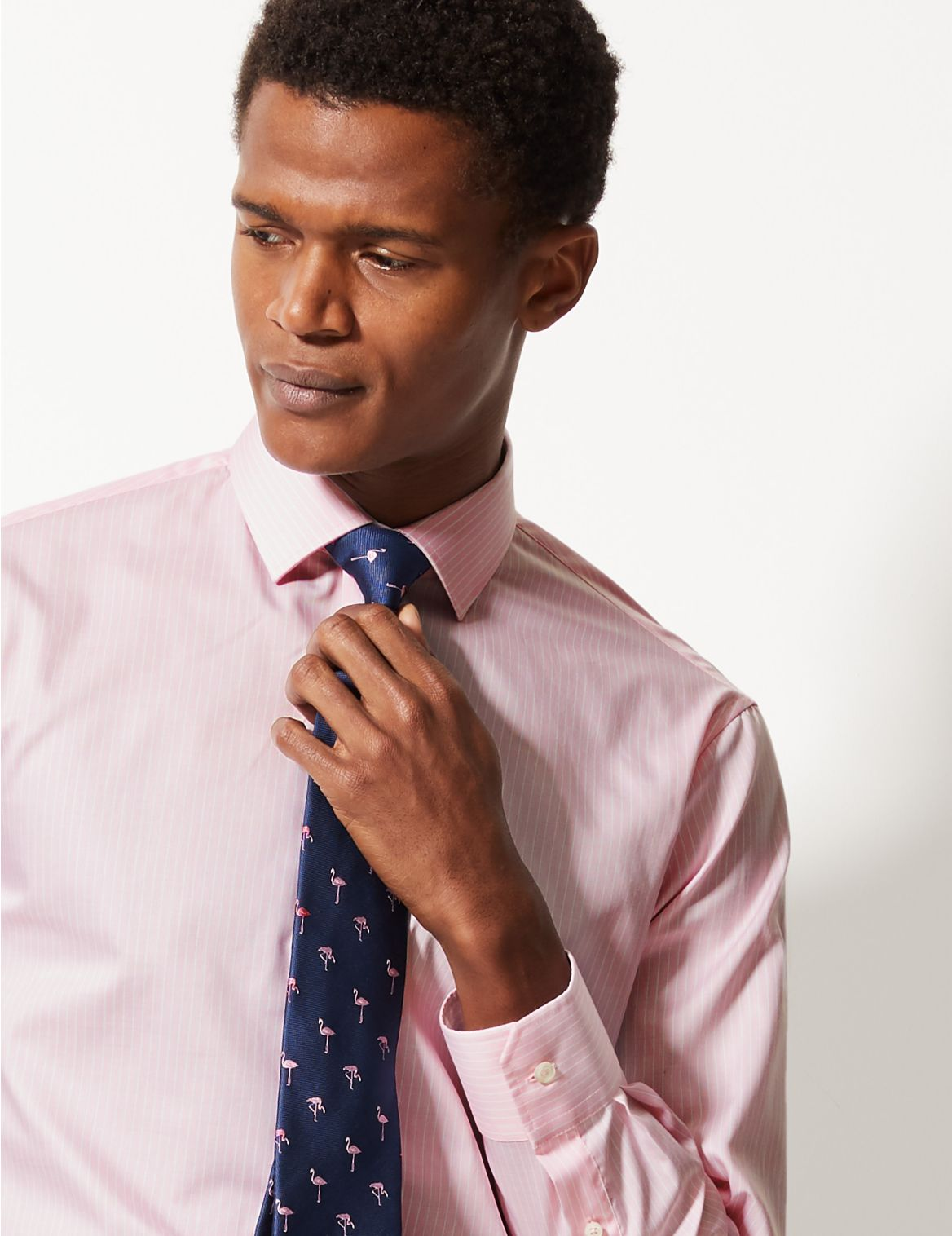 Pure Cotton Tailored Fit Shirt pale pink