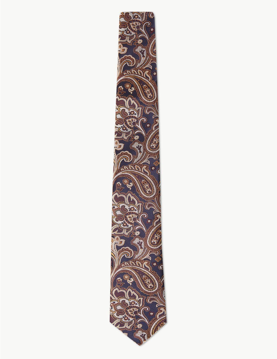 Cravate 100% soie Ă motif cachemire