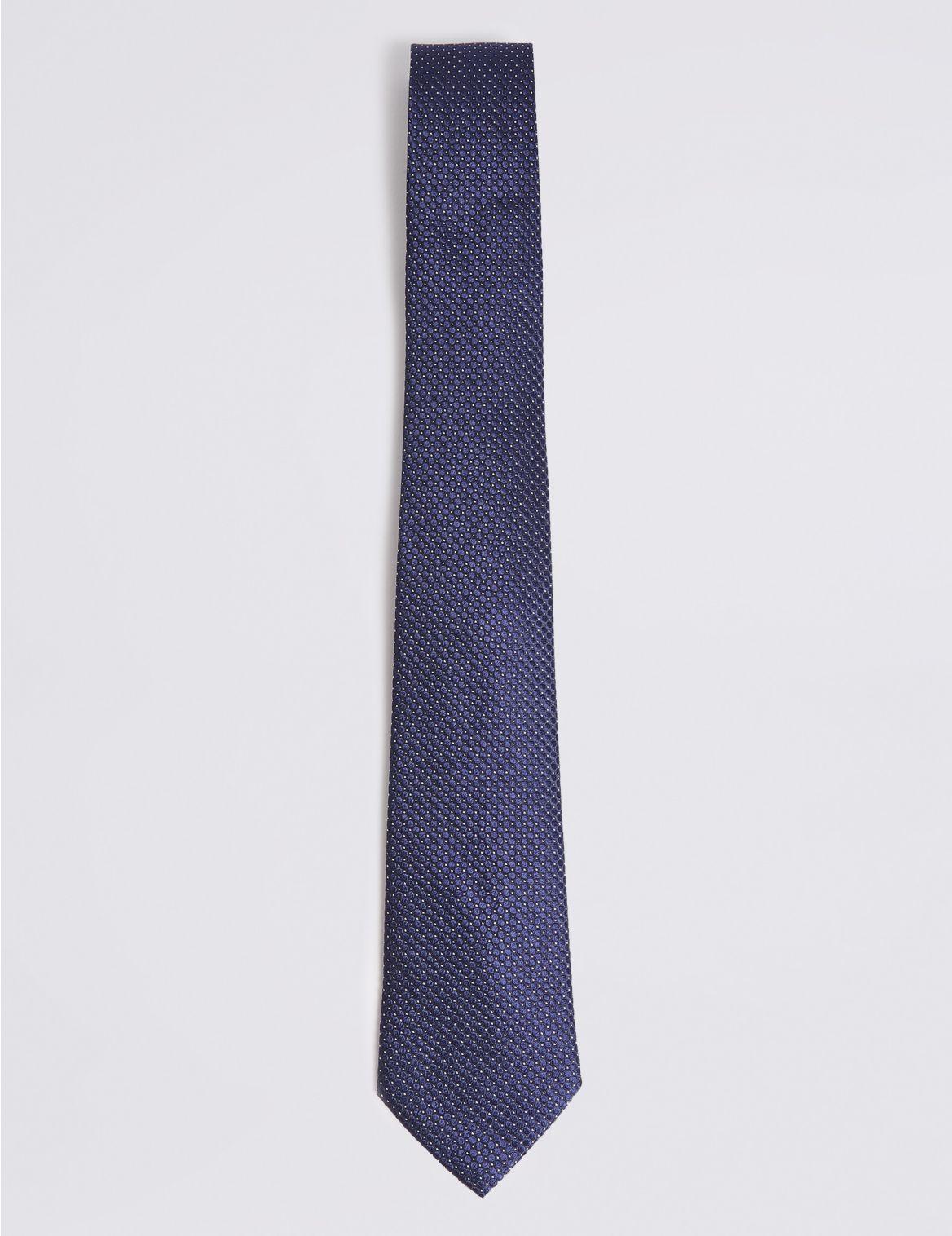 Cravate 100% soie Ă pois