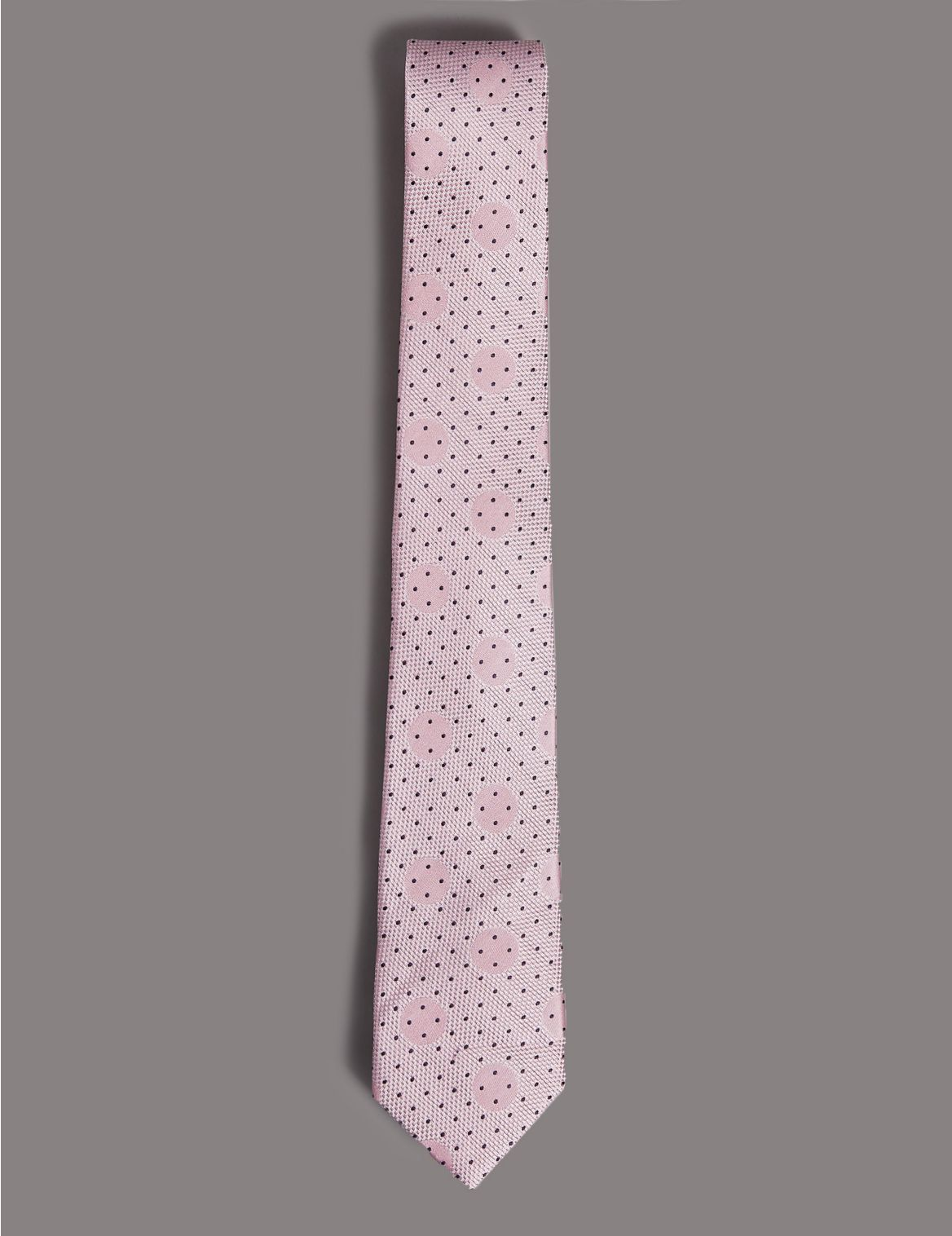 Pure Silk Spotted Tie pale pink mix