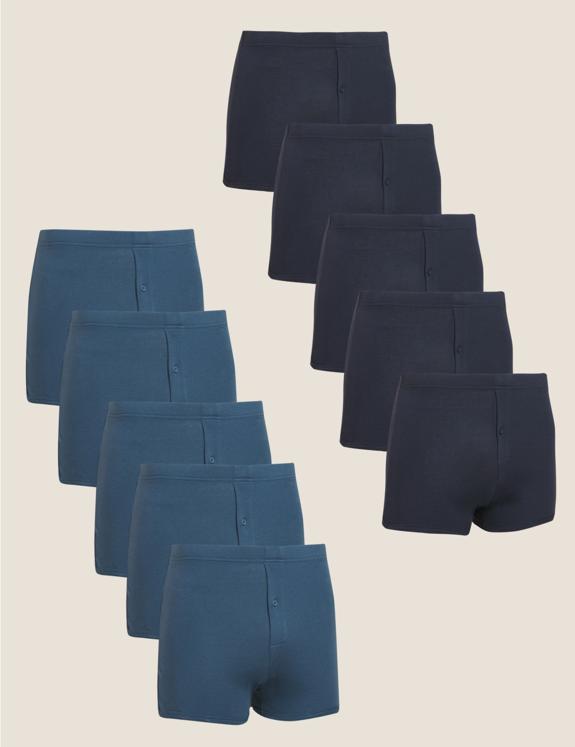 10 Pack Cotton Trunks navy/blue