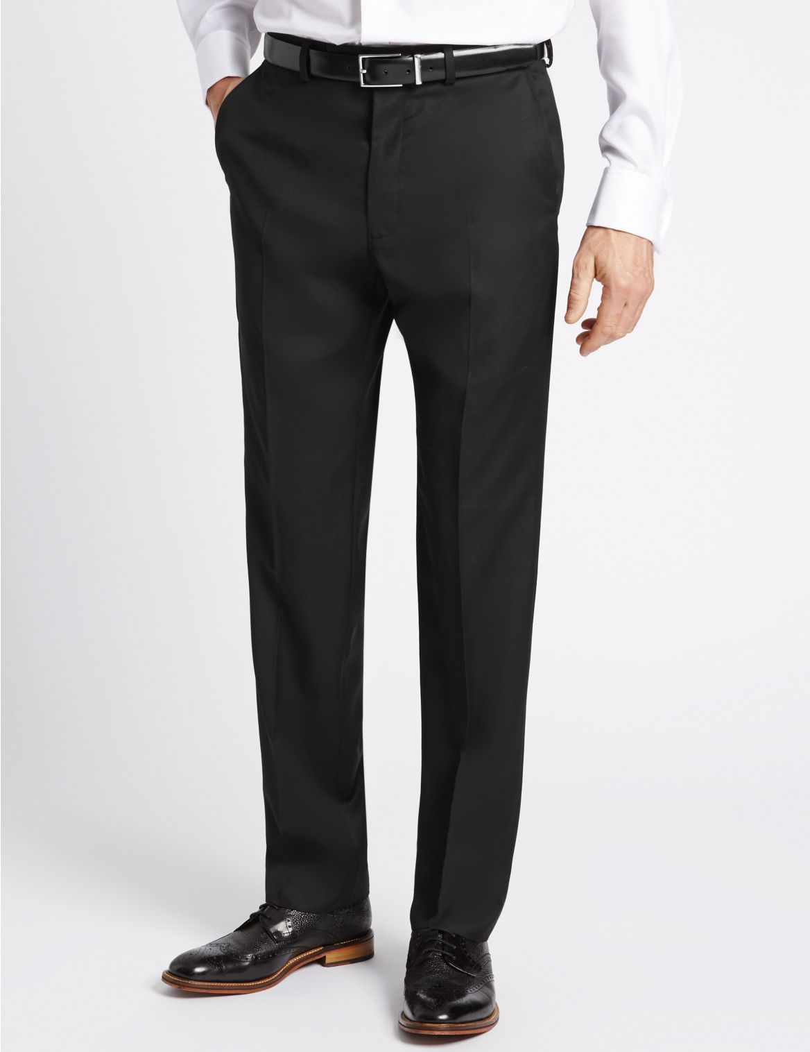 Black Tailored Fit Wool Trousers black
