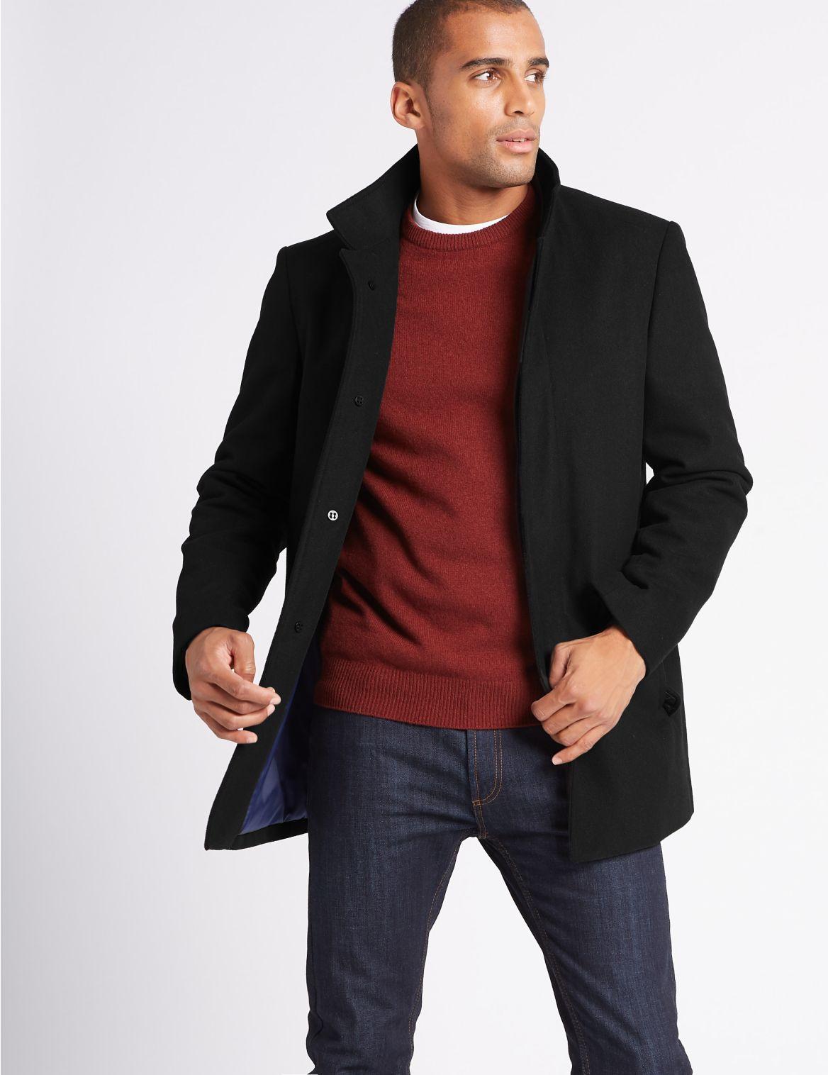 Manteau à col cheminée avec laine