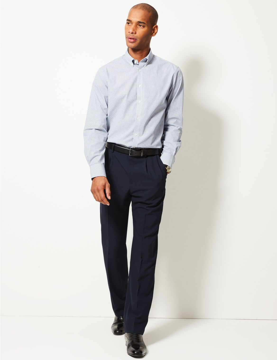 Regular Fit Single Pleated Trousers navy