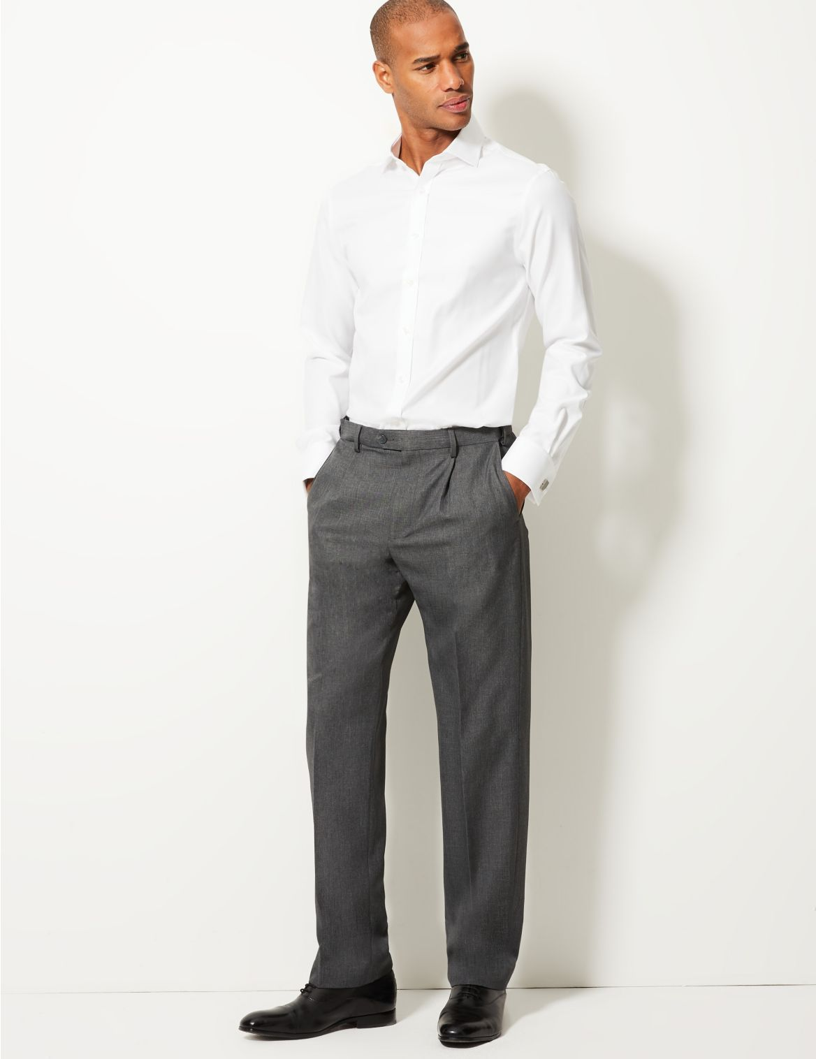 Regular Fit Single Pleated Trousers grey