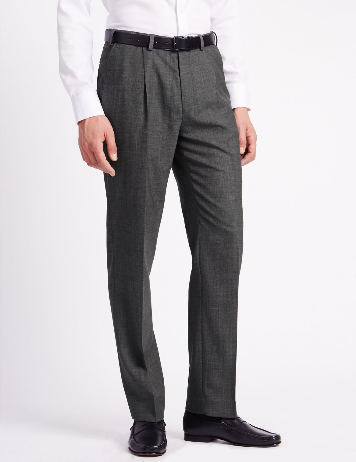 Regular Wool Blend Single Pleated Trousers grey
